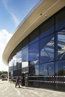 bespoke aluminium curtain walling solution for transport interchange